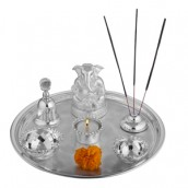 Puja Thali(Ganesha +tea light + 2 katori+agarbati stand+ bell)