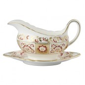Derby Red Panel Sauce Boat And Stand
